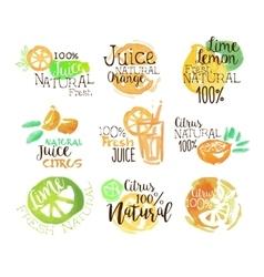 Natural citrus juice promo signs colorful set vector