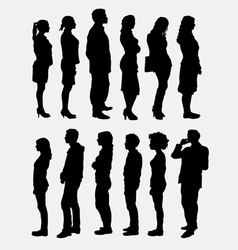 People standing queue silhouettes vector image