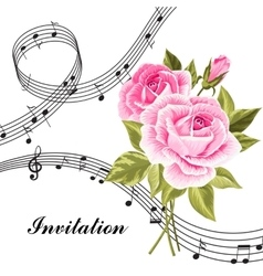 Pink roses with music notes vector image vector image
