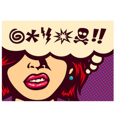 pop art angry woman with swear words vector image vector image