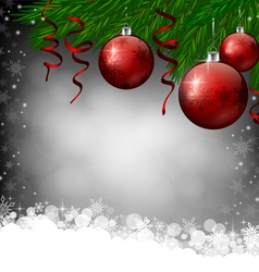 Red Christmas decoration on grey background vector image vector image