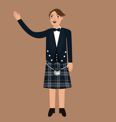 scottish traditions concept with person wearing vector image