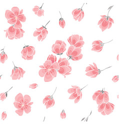 Seamless background pattern - pink sakura blossom vector