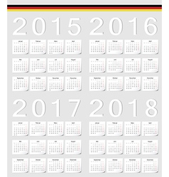 Set of german 2015 2016 2017 2018 calendars vector