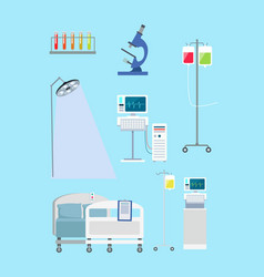 supplies in hospital on blue vector image vector image