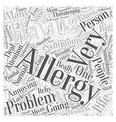 Symptoms of having allergies word cloud concept vector