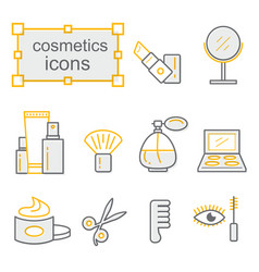 Thin lines icon set cosmetics vector