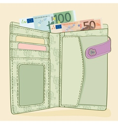 Wallet with 50 and 100 euro bills vector