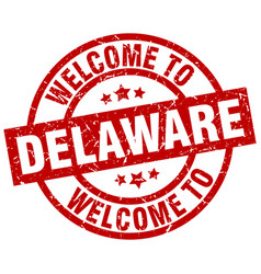 Welcome to delaware red stamp vector