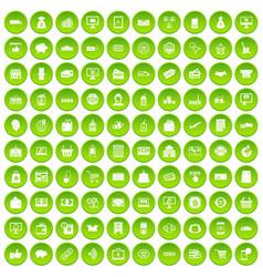 100 shopping icons set green circle vector