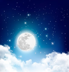 Night nature sky background with full moon cloud vector