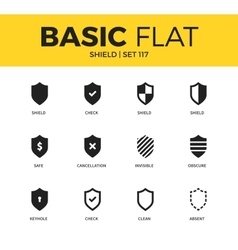 Basic set of shield icons vector