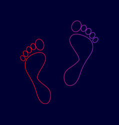Foot prints sign  line icon with gradient vector