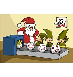 Oops elves been trapped while joking at xmas toy vector