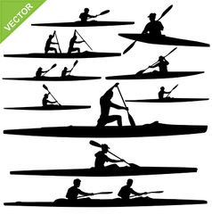 Kayaking silhouettes vector