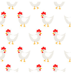 White hen rural seamless pattern vector