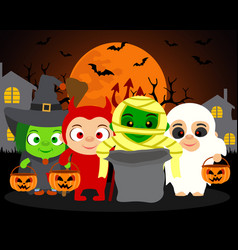 Trick or treat halloween background with kids vector