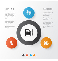 Job icons set collection of group contract work vector