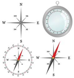 Compass in silver color in part vector