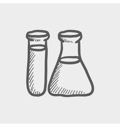 Test tube and beaker sketch icon vector