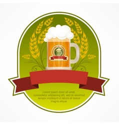 Glass mug of beer label vector