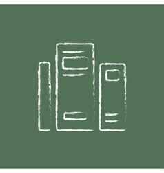 Books icon drawn in chalk vector image