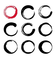 Set of hand painted ink circles vector