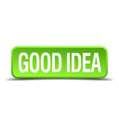 Good idea green 3d realistic square isolated vector