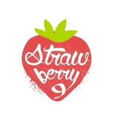 Strawberry name of fruit written in its silhouette vector