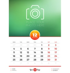 Wall calendar template for 2017 year december vector