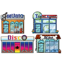 A musical store travel agent office disco house vector