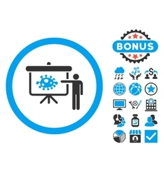 Bacteria lecture flat icon with bonus vector