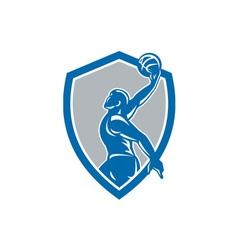Basketball player dunk ball shield retro vector
