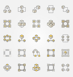 Blockchain colored icons set block chain vector