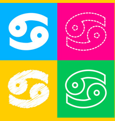 Cancer sign four styles of icon on vector