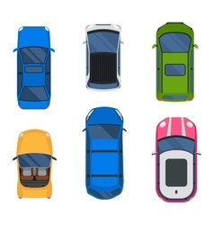 Car top view set vector image vector image