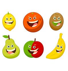 Cartoon fruit characters set vector