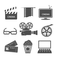 Cinema monochrome elements set vector