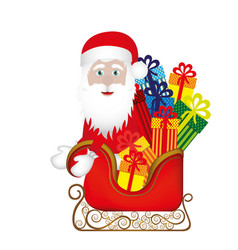 Colorful silhouette of santa claus in sleigh with vector