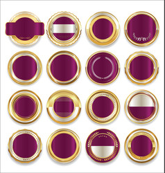 Empty gold silver and purple labels collection vector