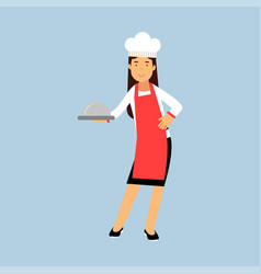 Female chef cook character in red apron holding vector