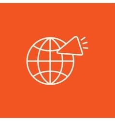Globe with loudspeaker line icon vector image