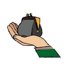 Hand business man holding open money purse image vector