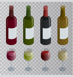 isometric set of white rose and red wine bottles vector image