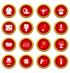 Magic icon red circle set vector