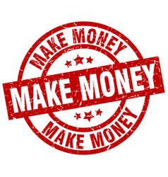 Make money round red grunge stamp vector
