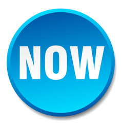 Now blue round flat isolated push button vector