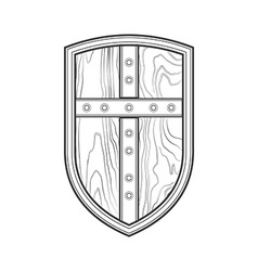 Outline medieval shield with cross icon vector