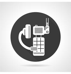 Portable radio kit black round icon vector