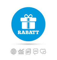 Rabatt - discounts in german sign icon gift vector
